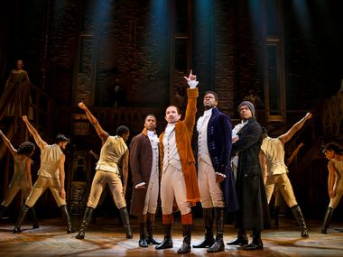 This is a scene from the national tour of Hamilton, the hotly awaited blockbuster that arrives in Dallas on April 2.