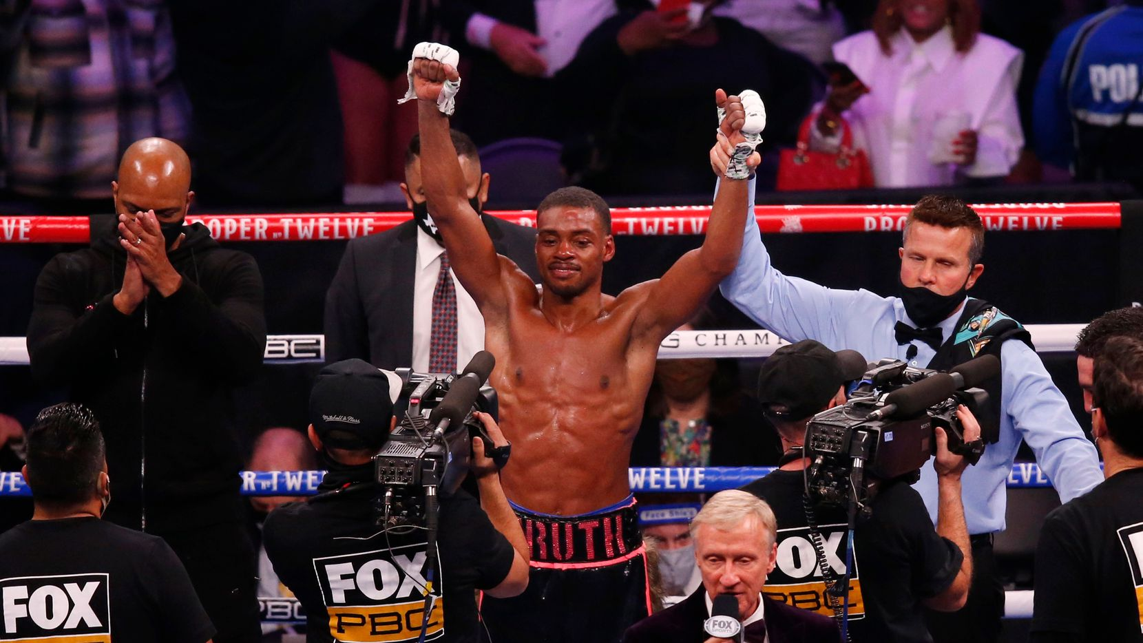 Errol Spence, Jr. is named the winner against Danny García in a WBC & IBF World Welterweight Championship boxing match at AT&T Stadium on Saturday, December 5, 2020 in Arlington, Texas. Spence Jr. won by unanimous decision in 12 rounds.