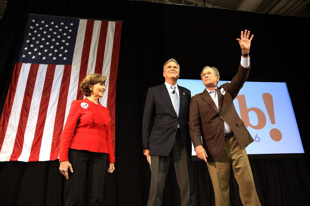 Then-Republican presidential candidate Jeb Bush drew his big brother back to the campaign trail in February, when former President George W. Bush and former first lady Laura Bush stumped for him at a campaign rally in North Charleston, S.C.(Spencer Platt/Getty Images)