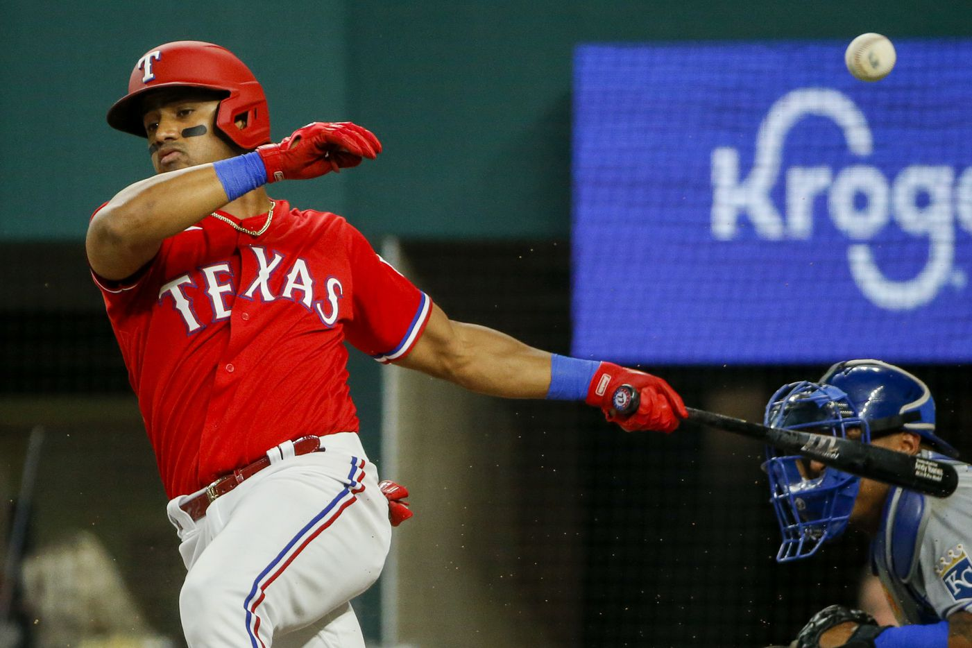 Texas Rangers first baseman Andy Ibanez (77) fouls off a pitch during the second inning against the Kansas City Royals at Globe Life Field on Friday, June 25, 2021, in Arlington. (Elias Valverde II/The Dallas Morning News)