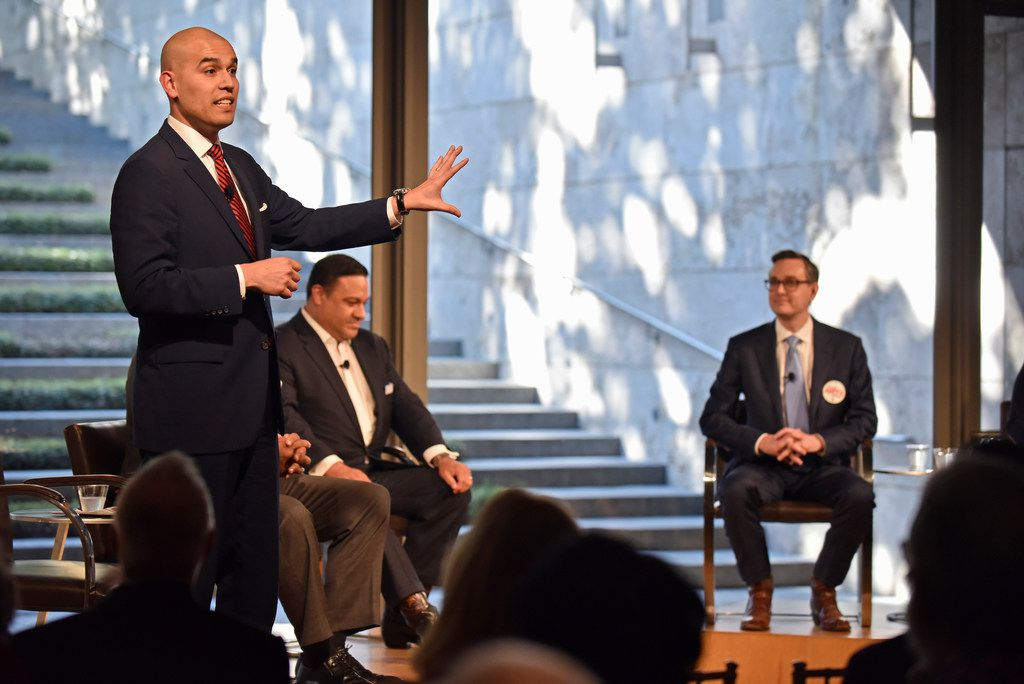 Mayoral candidate Miguel Solis speaks about the issues facing the arts in Dallas communities at the Dallas Mayoral Arts and Cultural Forum held at the Nasher Sculpture Center in Dallas, Monday March 25, 2019. Ben Torres/Special Contributor