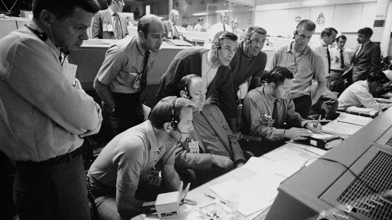 NASA astronauts and flight controllers monitored the problem-plagued Apollo 13 mission from the Mission Control Center in Houston on April 14, 1970.
