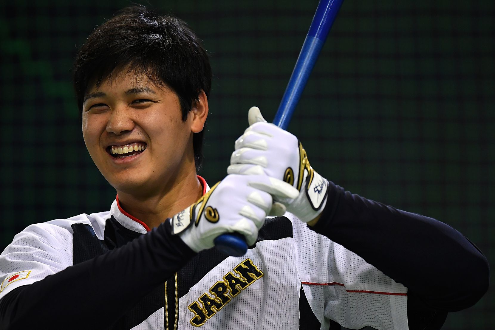 TOKYO, JAPAN - NOVEMBER 12:  Shohei Ohtani #16 of Japan is seen during the warm-up ahead of the international friendly match between Japan and Netherlands at the Tokyo Dome on November 12, 2016 in Tokyo, Japan.  (Photo by Masterpress/Getty Images)