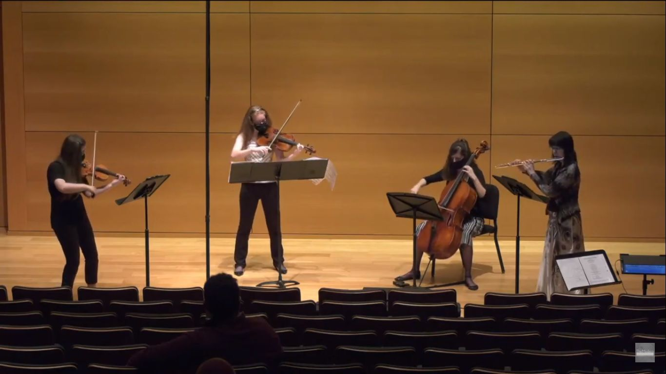 Violinist Mia Detwiler, violist Kathleen Crabtree, cellist Kourtney Newton and flutist and Sounds Modern director Elizabeth McNutt perform 'Vestiges' (2017), by Aida Shirazi, at the Sounds Modern concert in the auditorium of the Modern Art Museum of Fort Worth on May 15.
