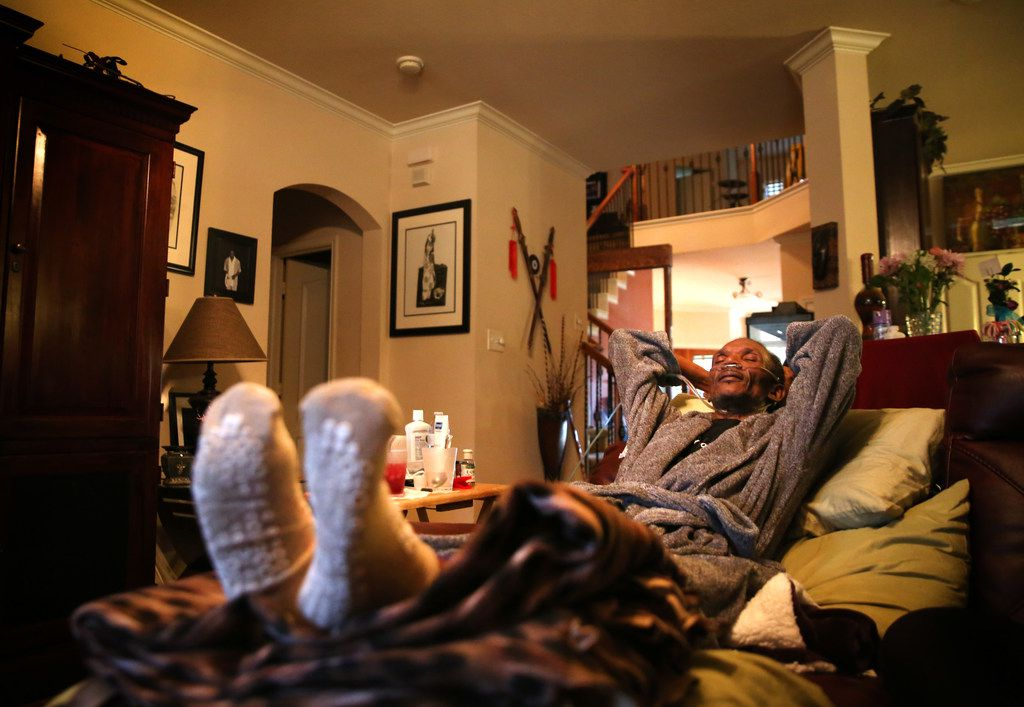Johnnie Lindsey rests at home in Dallas. He's under home hospice care and is dying of liver cancer.