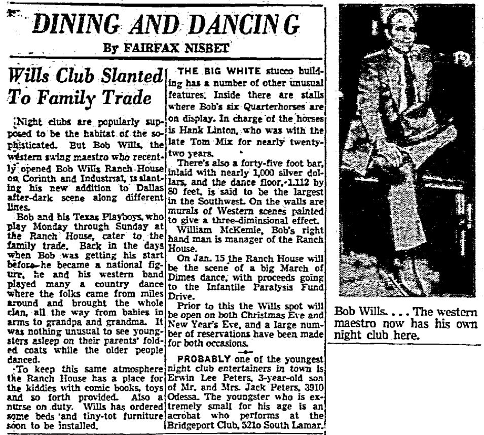 From The Dallas Morning News, December 15, 1950, announcing the opening of the Bob Wills Ranch House