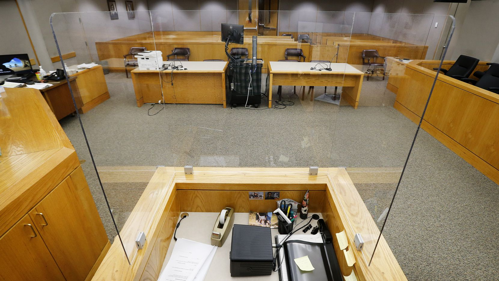 A view from the court reporters plexiglass encased desk in Judge Dominique Collins Criminal District Court 4 at the Frank Crowley Courthouse in Dallas, Saturday, November 21, 2020. The courts are making strides to start summoning juries in a safe way during the COVID-19 pandemic. (Tom Fox/The Dallas Morning News)