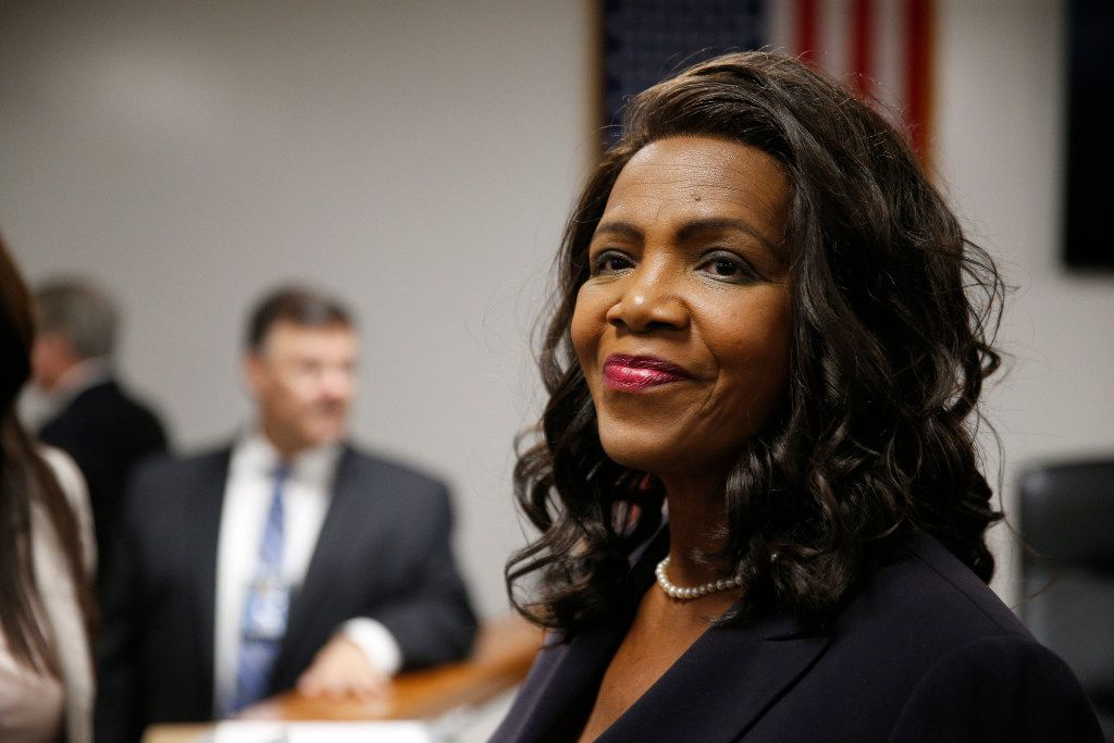 Faith Johnson before being sworn in at the Dallas County district attorney at the Frank Crowley Courts Building in Dallas on Jan. 2, 2017.  (Nathan Hunsinger/The Dallas Morning News)
