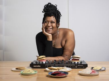 Rachel Harvey, also known as DJ Ursa Minor, with some of the cookies she bakes under as the Butter Fairy, photographed at Tyler Station in Dallas, on Monday, Oct. 19, 2020. Harvey is known for selling her cookies out of a Super Mario Bros. backpack at DJ gigs.