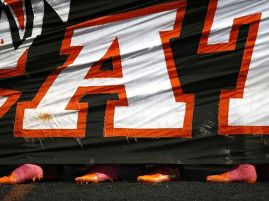 """Aledo players wait to take the field prior to the kick-off against Northwest Eaton at Bearcat Stadium on Friday, Oct. 20, 2017, in Aledo, Texas. A group of Aledo ISD students has been disciplined  after posts about """"Slave Trade"""" of classmates."""