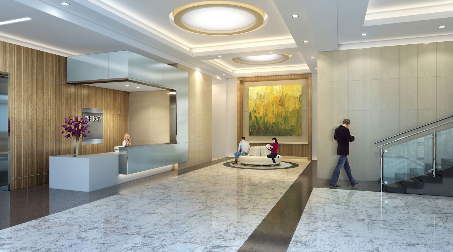 The lobby of The Katy apartments on Cole Avenue.