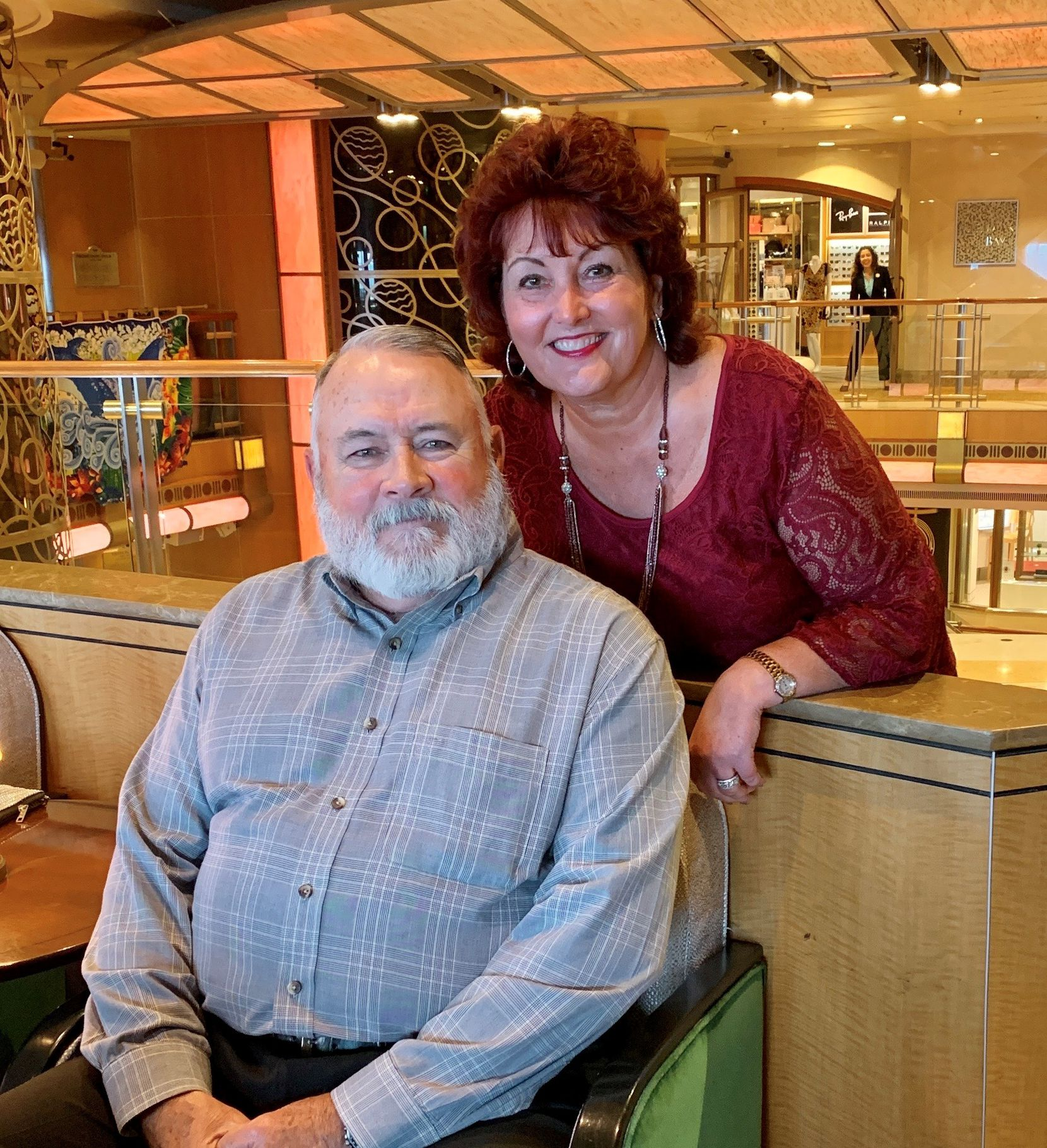 Susan and Michael Dorety are shown on a Grand Princess cruise they took in February to celebrate their anniversary. The couple didn't know that at least two passengers on the prior Grand Princess voyage had experienced COVID-19 symptoms, or that 62 others from that same cruise had remained on board with them even though they had been exposed, the lawsuit says.