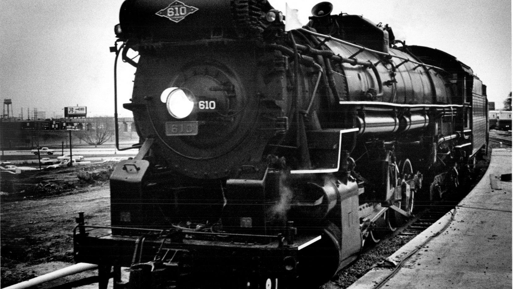Example of an oil-burning steam engine, the 610 Texas & Pacific, made by Lima Locomotive Works, circa 1920s. Photo taken on March 2, 1977.