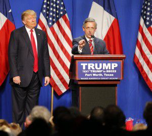 Jeffress speaks on behalf of Republican presidential candidate Donald Trump during a rally at the Fort Worth Convention Center in February. (Tom Fox/Staff Photographer)