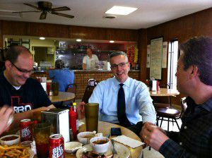 Daniel Vaughn, left, and WFAA's David Schechter joined my dad and me for lunch at Mac's a couple of years ago. That's Billy McDonald behind the counter.