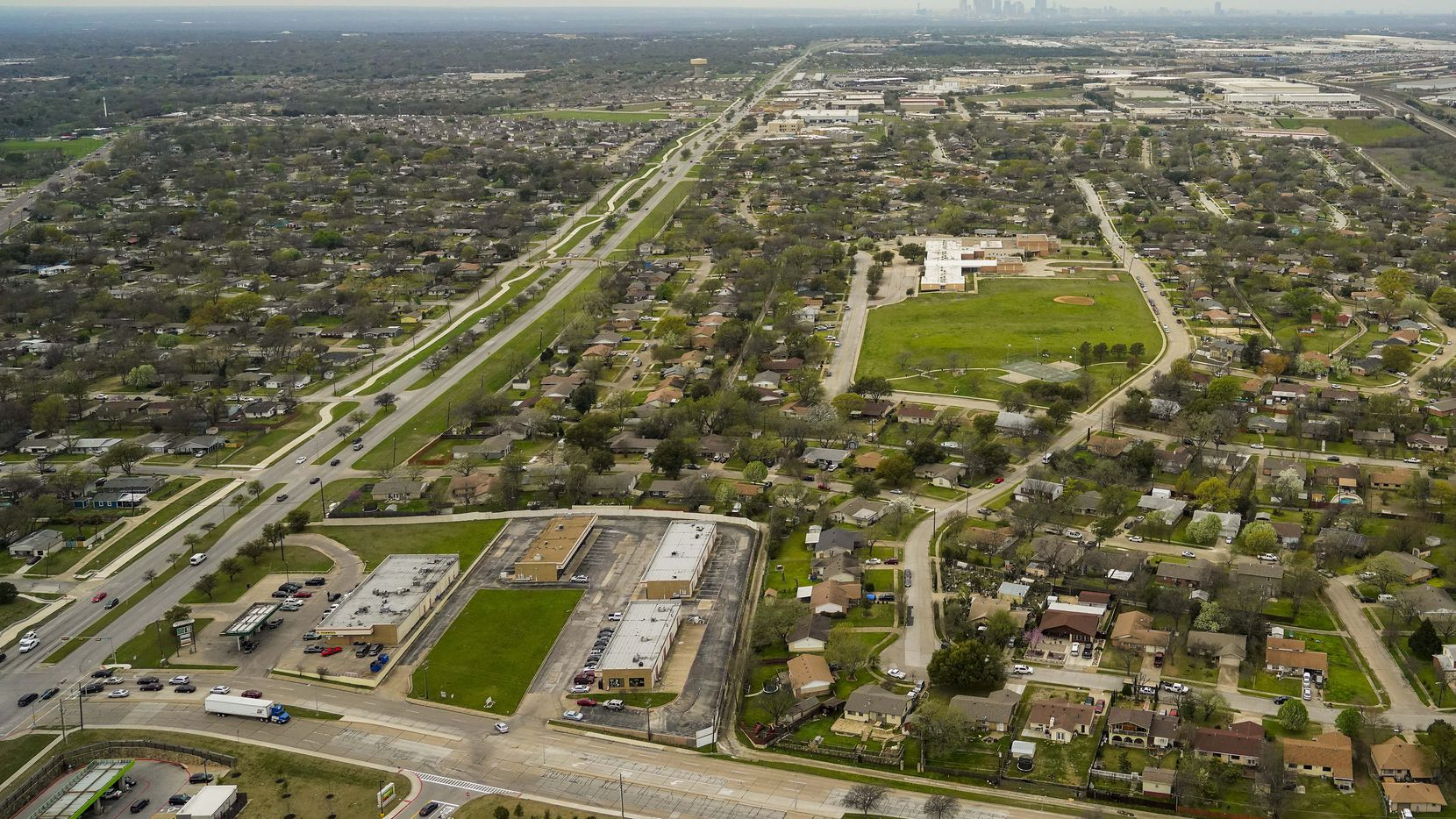 Aerial view of Military Parkway looking west toward the downtown Dallas skyline on Thursday, March 12, 2020, in Mesquite.