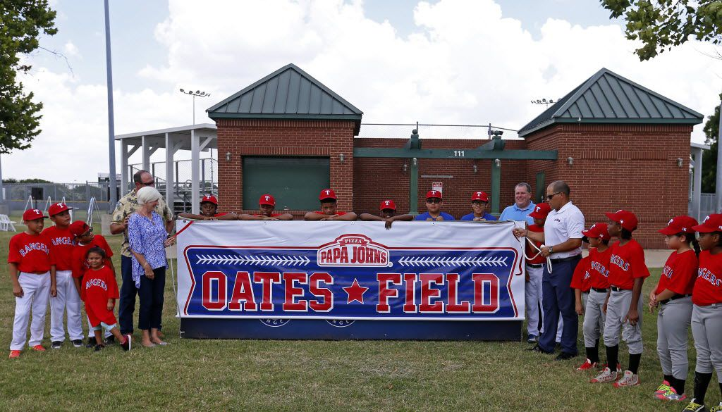 The Oates Field, which is dedicated to Texas Rangers' Youth Academy at Mercy Street in honor of former manager Johnny Oates, is unveiled during a dedication ceremony in Dallas, Tuesday, June 21, 2016. (Jae S. Lee/The Dallas Morning News)