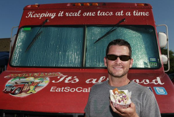 Scott Wooley, with the San Diego Classic: Panko Battered Fish Taco, in front of his So-Cal Taco Truck in the parking lot at Bear Creek Spirits and Wine in Colleyville, Texas on Friday, July 13, 2012.