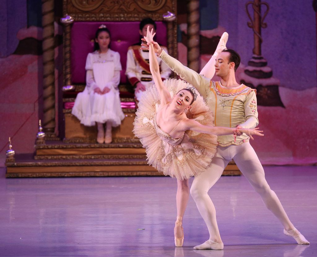 New York City Ballet principal dancers Tiler Peck (left) and Tyler Angle appear with Chamberlain Performing Arts students in The Nutcracker at the Eisemann Center in Richardson on Nov. 25, 2017.
