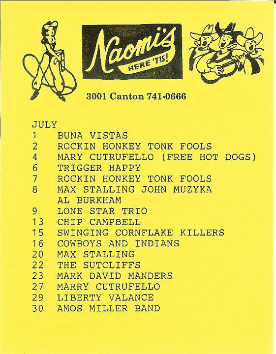 A concert calendar from Naomi's in the mid-1990s
