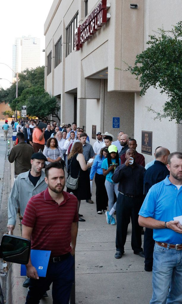 Hundreds of job candidates waited in line in August to apply for manufacturing positions for Lockheed Martin's F-35 fighter jet assembly plant in Fort Worth. Another hiring fair is set for Dec. 5.