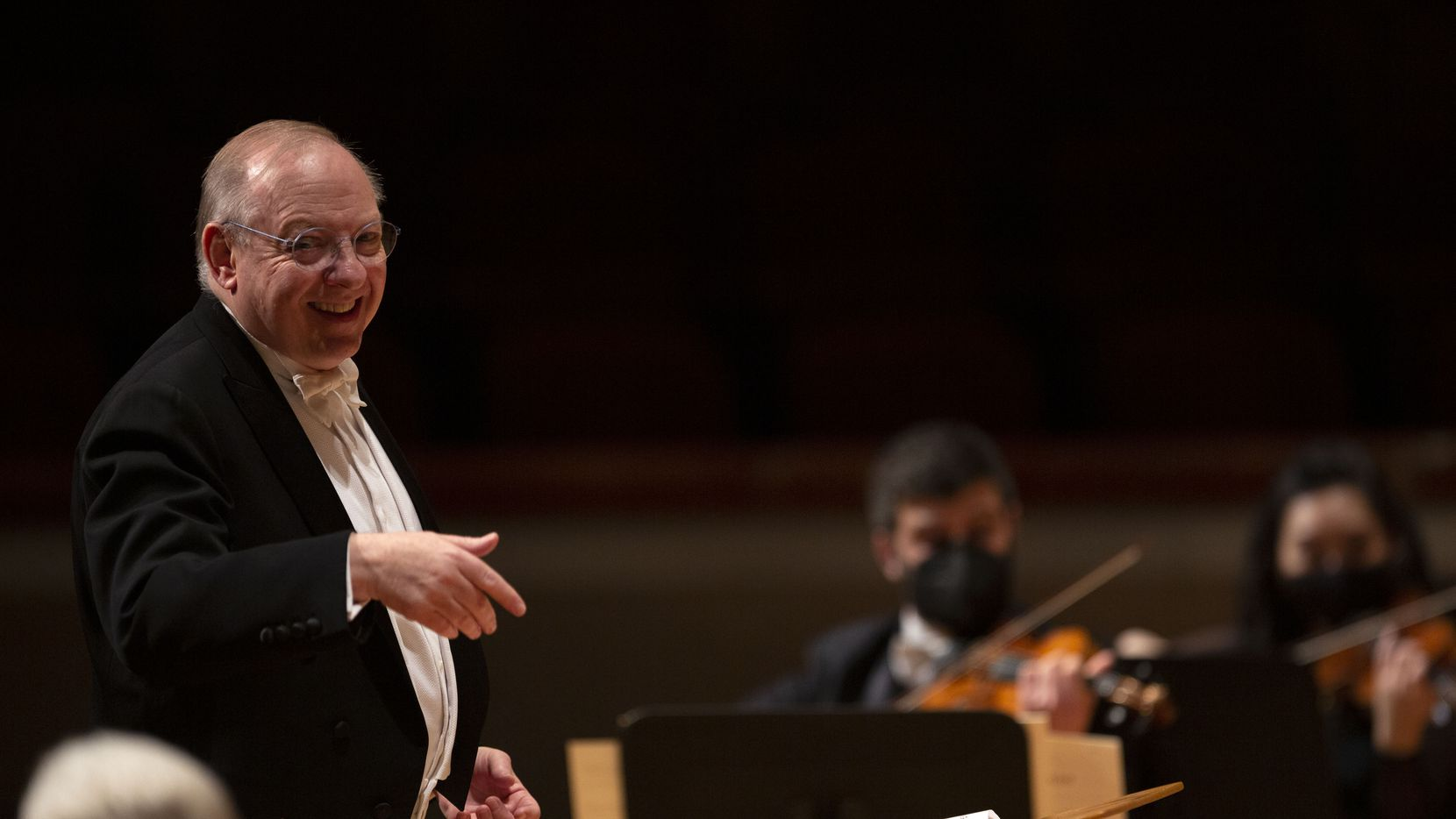 Guest conductor Nicholas McGegan leads the Dallas Symphony Orchestra at Meyerson Symphony Center on May 20.