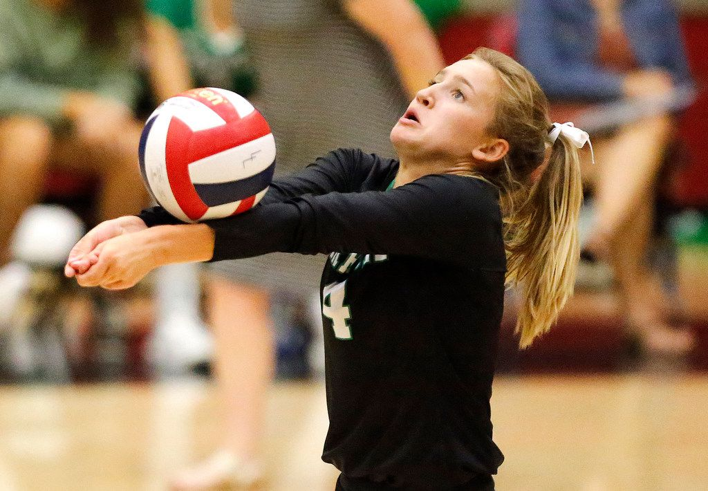 Southlake libero Keagan Polk (4) passes the ball during the first game of the match as Lovejoy High School hosted Southlake High School in a non-district match played at Lovejoy High School in Lucas on Tuesday, August 13, 2019.