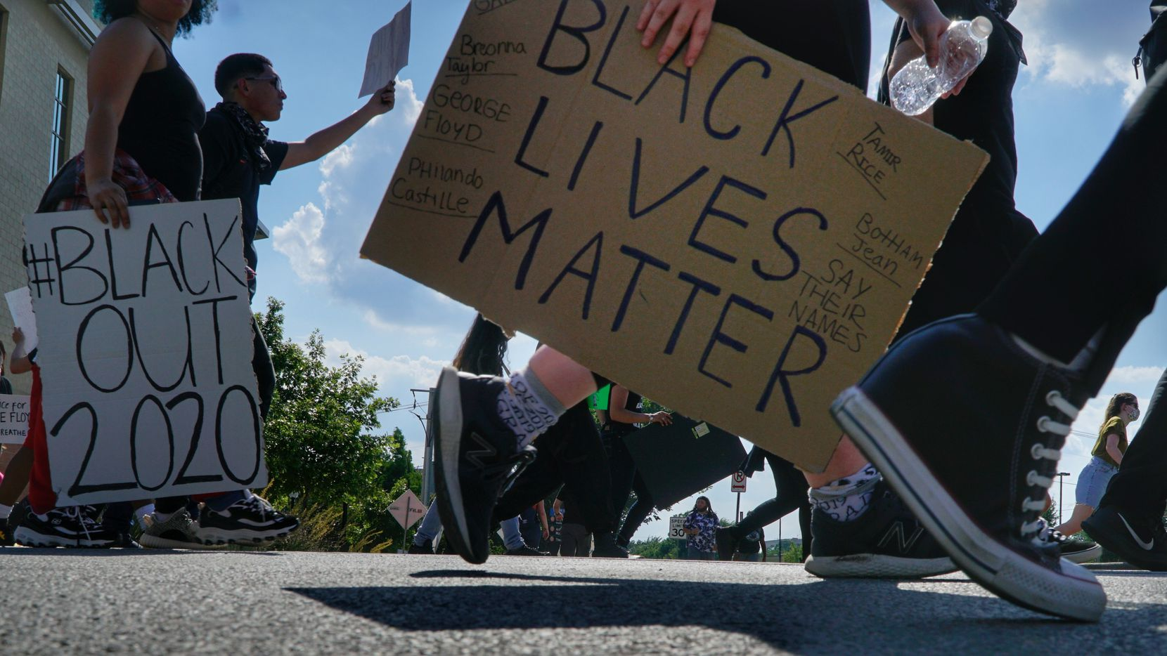 About 200 people protested in Arlington, Texas on Tuesday, June 2, 2020. The protest was to show solidarity in the midst of the latest killing of an African American man by police in Minnesota.