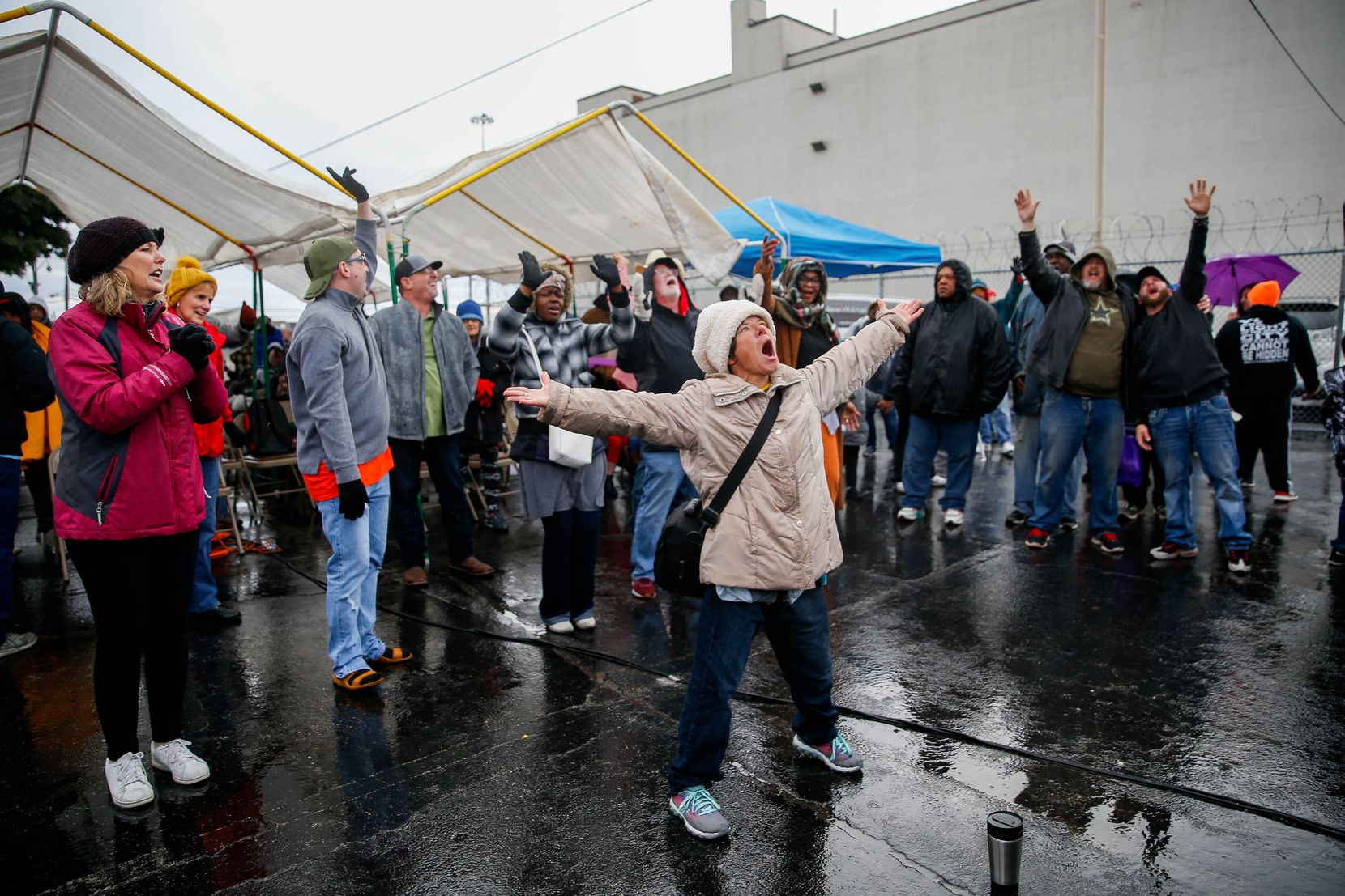 Worshippers sang during S.O.U.L. Church's last service on the downtown Dallas lot on Dec. 29, 2019.