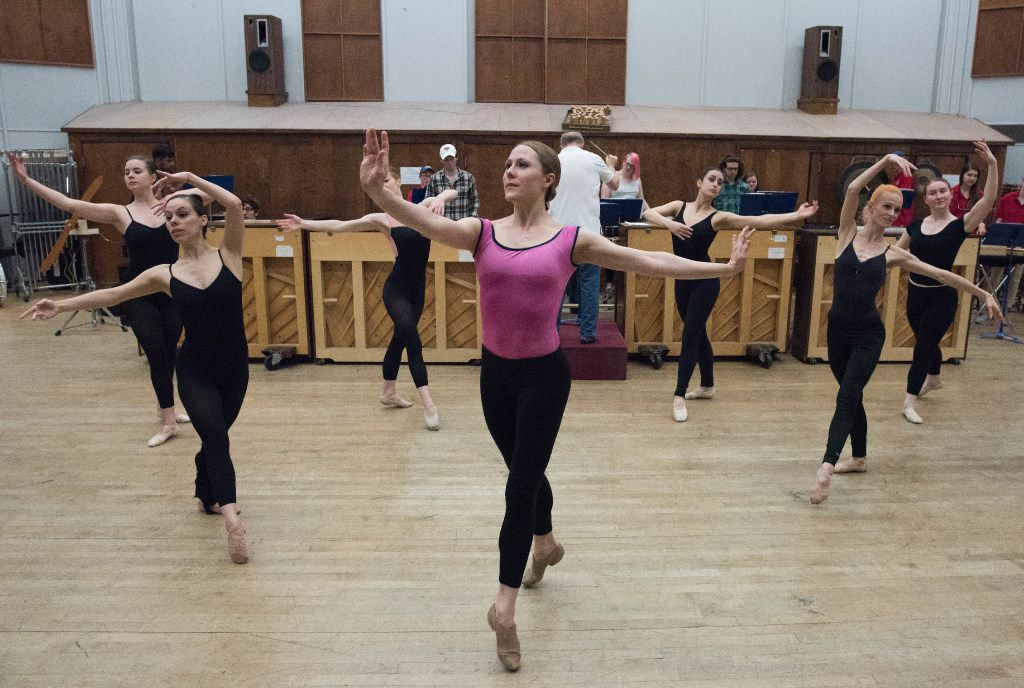 Ballet mistress Erin Boone and other Dallas Neo-Classical Ballet dancers rehearse Ballet Mécanique with SMU's Meadows Percussion Ensemble  on April 8, 2017.