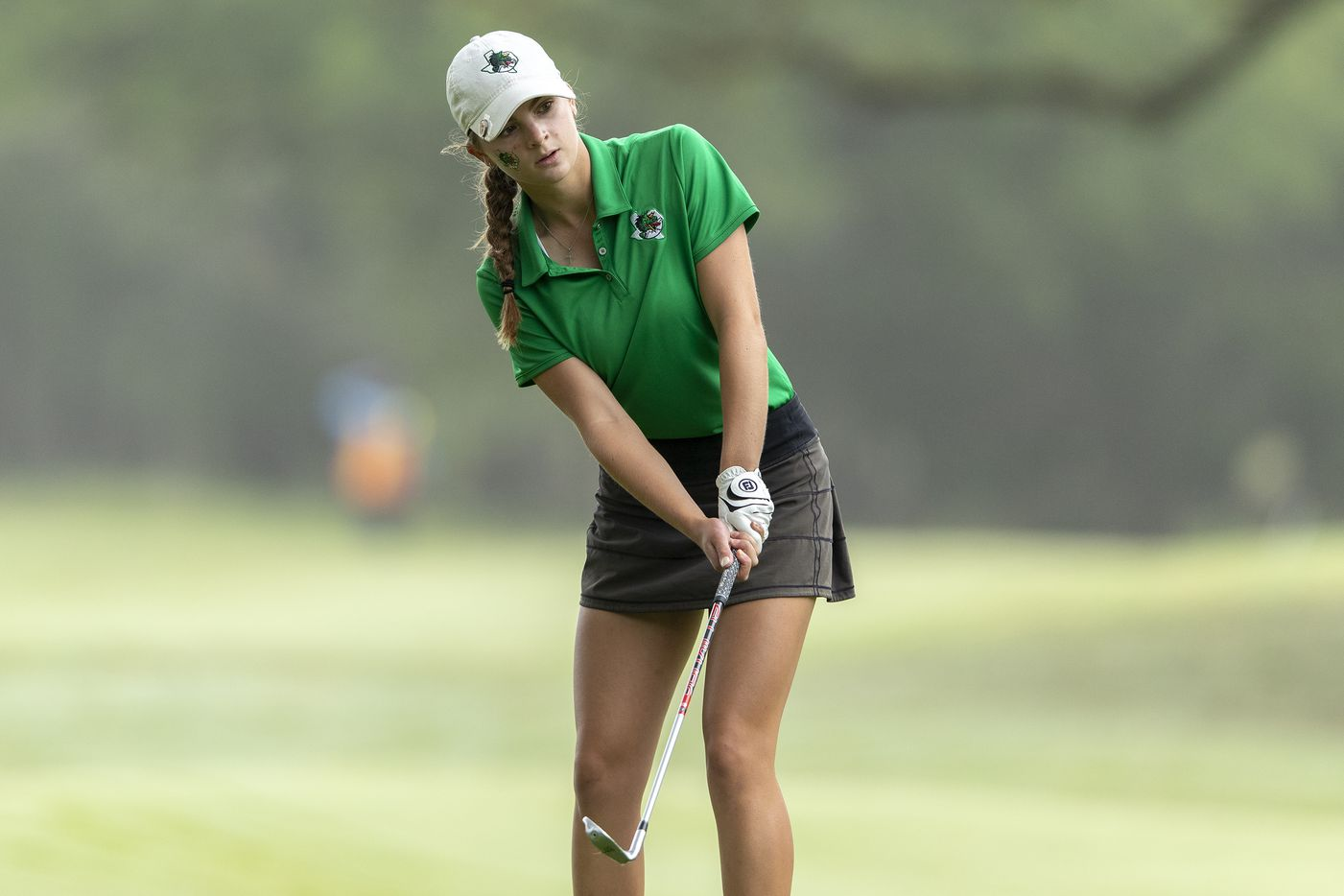 Southlake Carroll's MaKayla Tyrrell chips on to the 1st green during the final day of the UIL Class 5A girls golf tournament in Georgetown, Tuesday, May 11, 2021. (Stephen Spillman/Special Contributor)