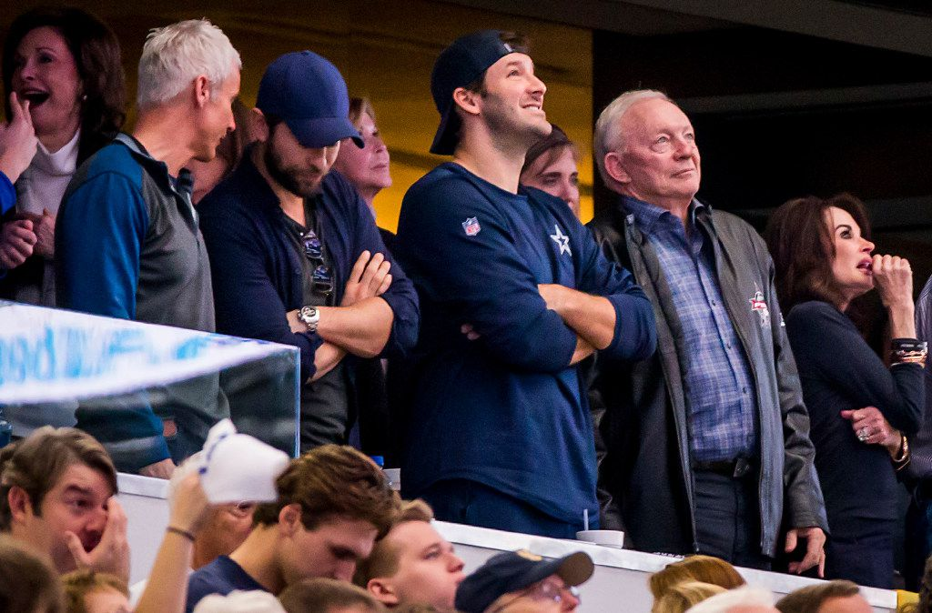 Dallas Cowboys quarterback Tony Romo watches the UIL Class 5A Division I state football championship football game between Highland Park and Temple with team owner Jerry Jones at AT&T Stadium on Saturday, Dec. 17, 2016, in Arlington.  Highland Park won the game 16-7(Smiley N. Pool/The Dallas Morning News)