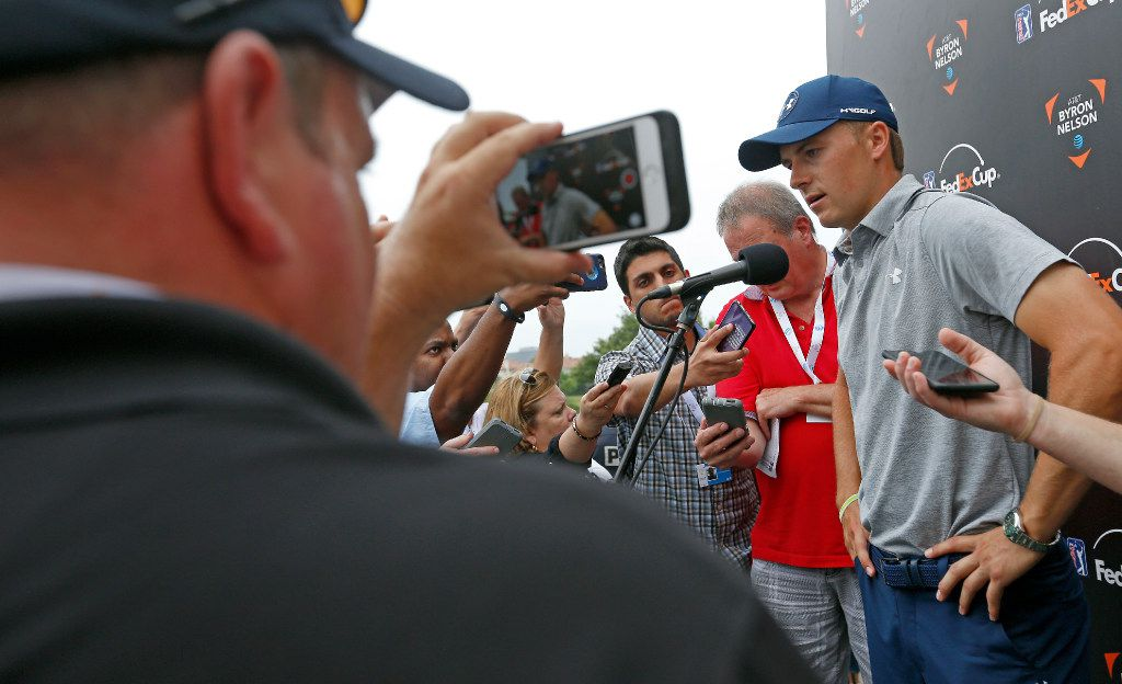 Jordan Spieth talks with the media after he finishes the second round with 5-over par at the AT&T Byron Nelson PGA golf tournament at the TPC Four Seasons Resort in Irving, Texas, Friday, May 19, 2017. (Jae S. Lee/The Dallas Morning News)