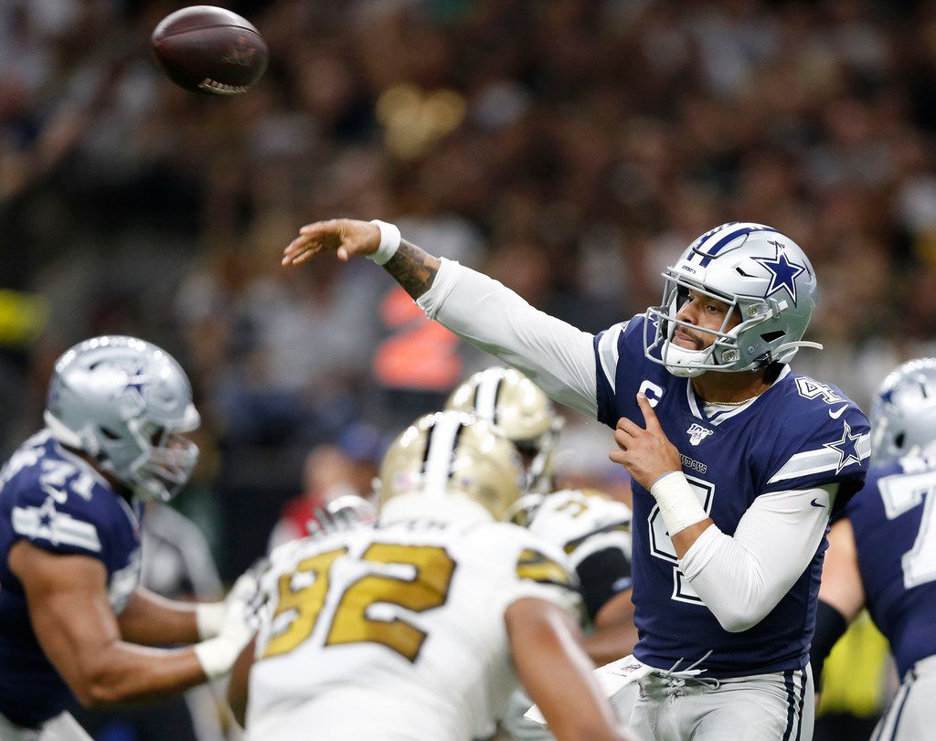 Cowboys quarterback Dak Prescott (4) attempts a pass during the first half of a game against the Saints at the Mercedes-Benz Superdome in New Orleans on Sunday, Sept. 29, 2019.