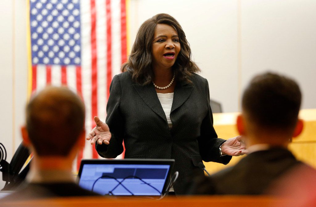 Dallas district attorney Faith Johnson speaks to five graduates of the Achieve Inspire Motivate (AIM) diversion program at the 292nd District Court of Frank Crowley Courts in Dallas on Monday, February 13, 2017.  AIM is a diversion initiative in the Dallas County criminal justice system that targets first-time felony offenders aged 18-24 years. Participants spend a year receiving the tools and resources needed to become productive and contributing members of society, rather than repeat offenders. (Vernon Bryant/The Dallas Morning News)
