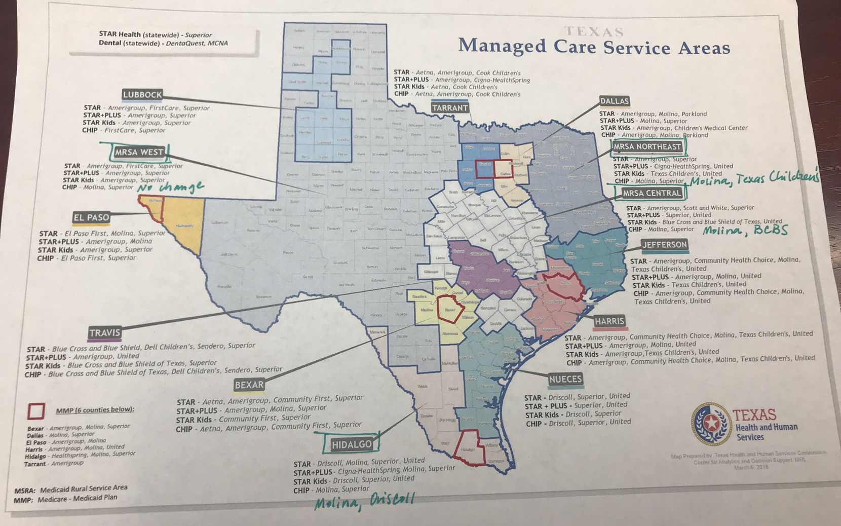 The canceled managed-care contracts were for the regions circled in green — Medicaid Rural Service Areas for West, Northeast and Central, and the Hidalgo region. The notations in green pen are the managed care organizations that in December were awarded 16-month contracts in each region. The contracts were supposed to begin Sept. 1. They have been canceled. Molina and Superior will continue providing CHIP coverage in the four regions until new contracts can be awarded. They will begin Jan. 1, 2020. (Health and Human Services Commission)