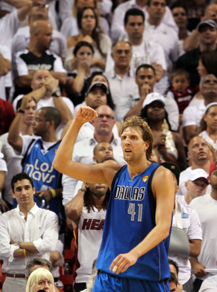 Dallas Mavericks power forward Dirk Nowitzki (41) rearts after making a basket in the fourth quarter during Game 2 of the NBA Finals at American Airlines Arena Thursday, June 2, 2011 in Miami. Dallas won the game 95-93. (Michael Ainsworth/The Dallas Morning News)