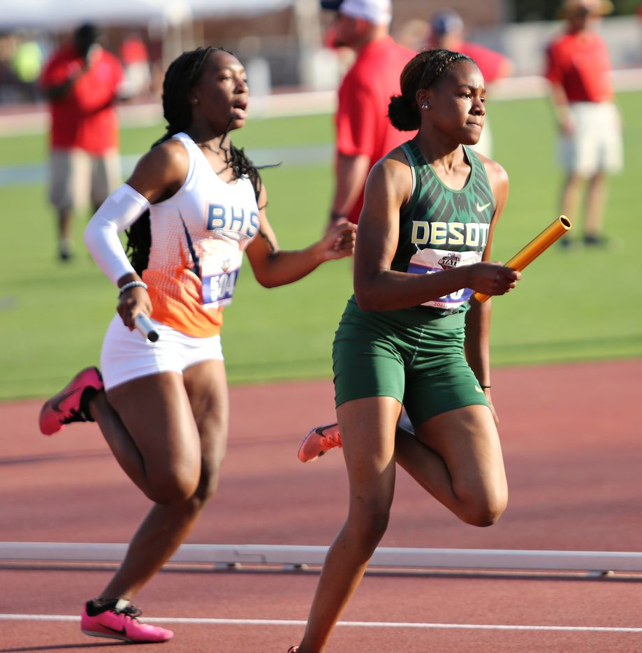 Trinity Kirk of DeSoto competes in the 6A Girls 4x200 meter relay during the UIL state track meet at the Mike A. Myers Stadium, at the University of Texas on May 8, 2021 in Austin, Texas.