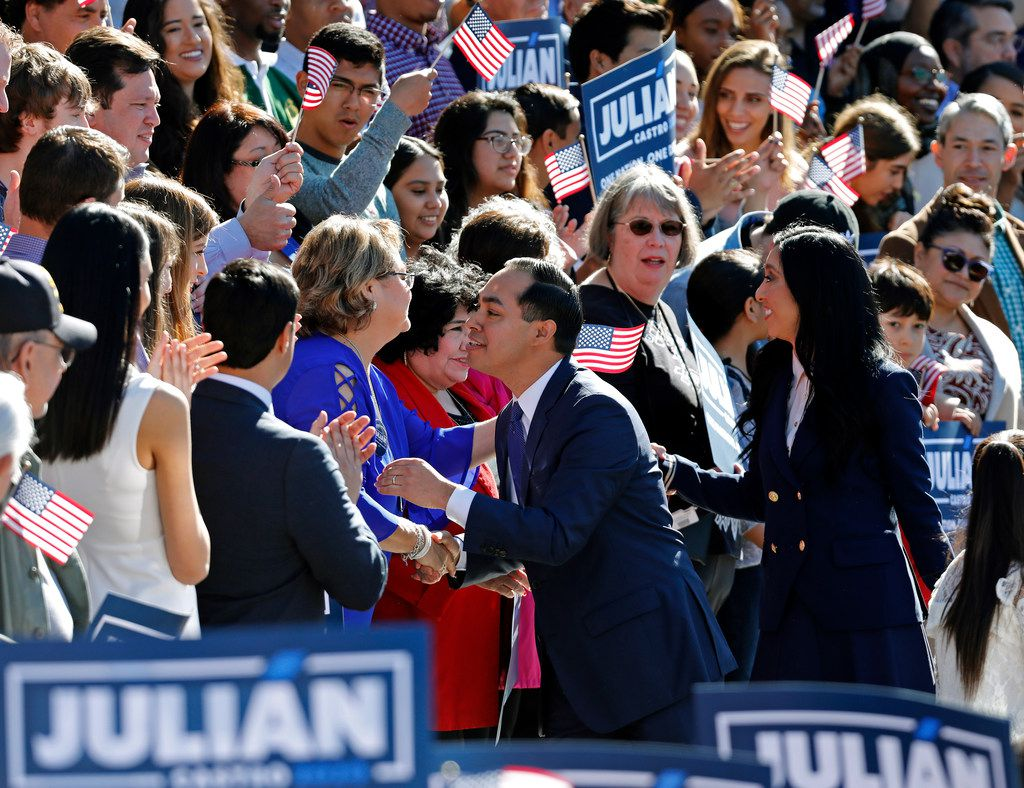 SAN ANTONIO, TX - JANUARY 12: Julian Castro, former U.S. Department of Housing and Urban Development (HUD) Secretary and San Antonio Mayor, with his wife Erica Lira Castro greets supporters before announcing his candidacy for president in 2020, at Plaza Guadalupe on January 12, 2019 in San Antonio, Texas. If successful, Castro would be the first Hispanic candidate to win the White House. (Photo by Edward A. Ornelas/Getty Images)