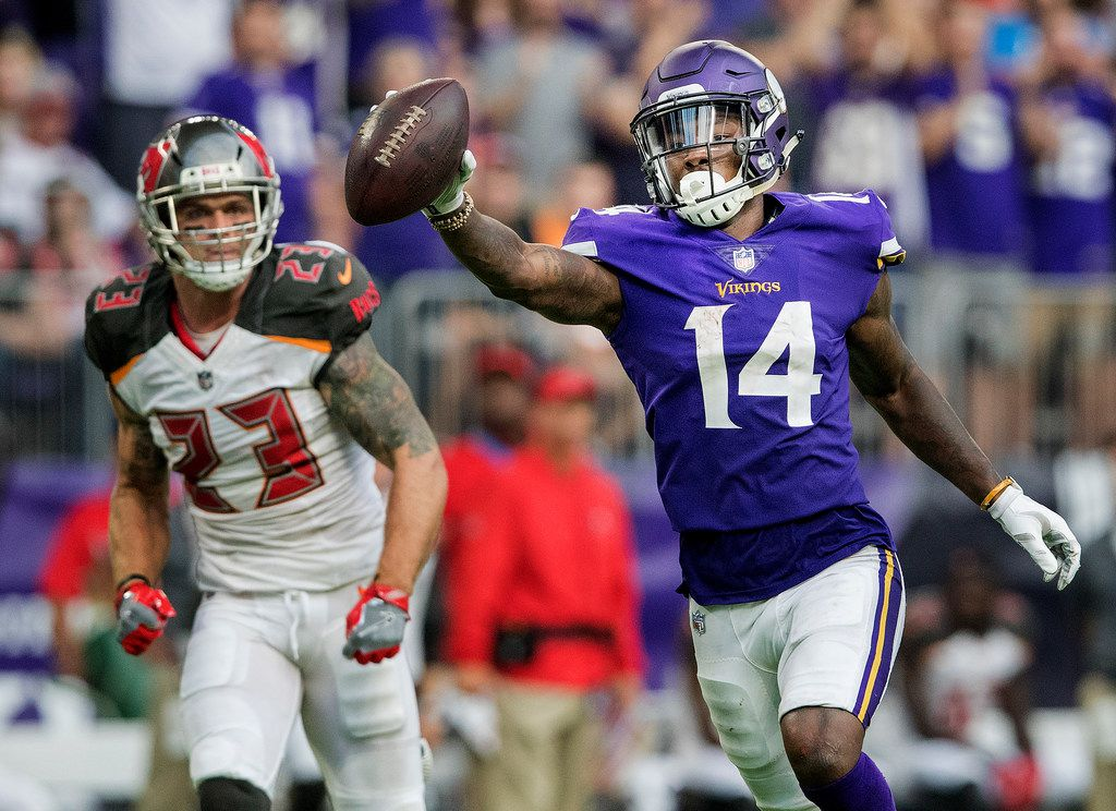 Minnesota Vikings wide receiver Stefon Diggs celebrates after catching a 17-yard touchdown pass in the second quarter against the Tampa Bay Buccaneers at US Bank Stadium in Minneapolis on Sunday, Sept. 24, 2017. The Vikings won, 34-17. (Carlos Gonzalez/Minneapolis Star Tribune/TNS)