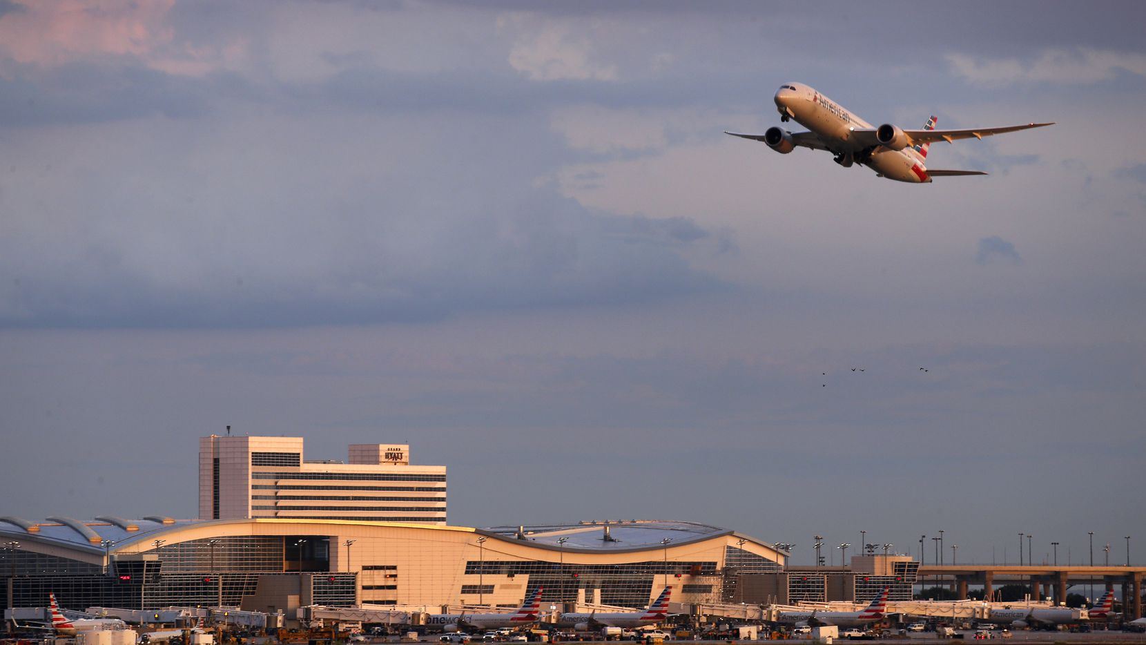 An American Airlines jet takes flight from DFW International Airport against a dramatic sunset.