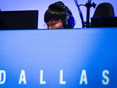 "Noh ""Gamsu"" Youngjin of the Dallas Fuel competes in an Overwatch League match against the Los Angeles Valiant at the Arlington Esports Stadium on Saturday, Feb. 8, 2020, in Arlington."