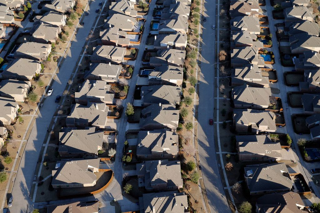 Aerial view of homes in Allen