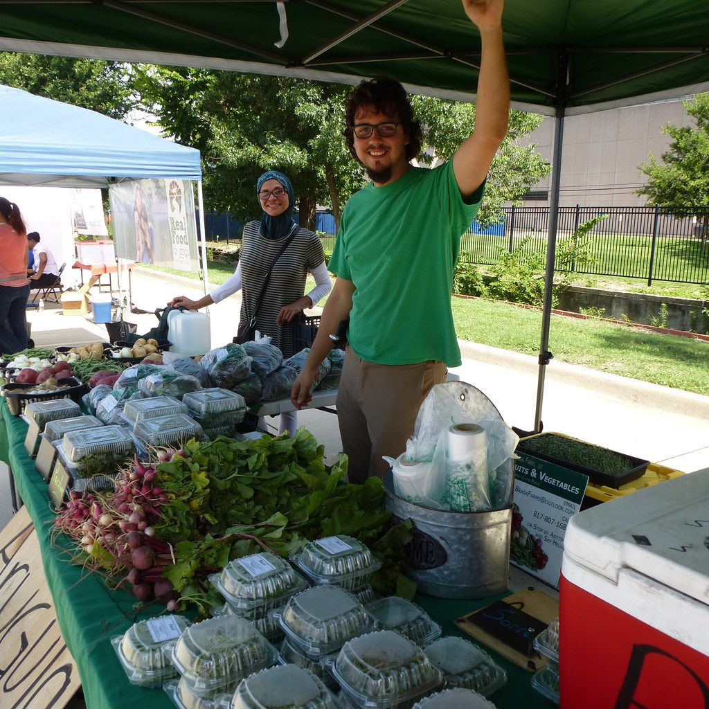 Jill Braga and son Jefferson Braga were on hand last week with produce from their urban Braga Farms in Irving at St. Michael's Farmers Market.