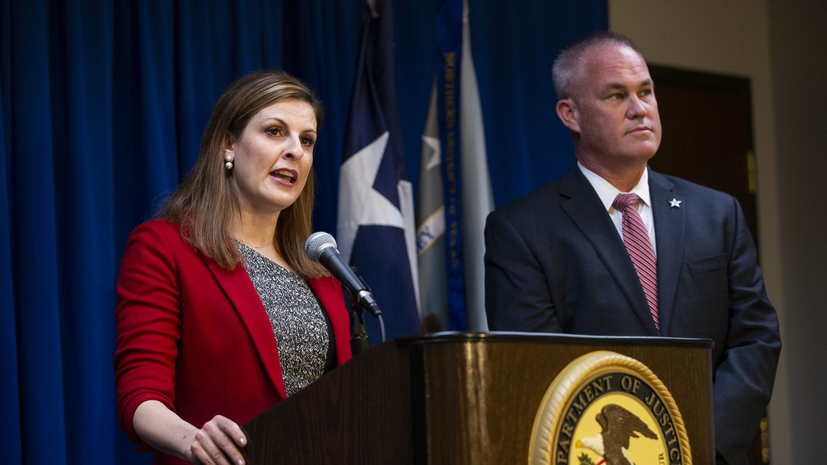 U.S. Attorney for the Northern District of Texas Erin Nealy Cox with ATF Special Agent in Charge Jeffrey C. Boshek II announced three arrests in Project Guardian, an effort to reduce gun violence, at a news conference on March 12, 2020, in Dallas.