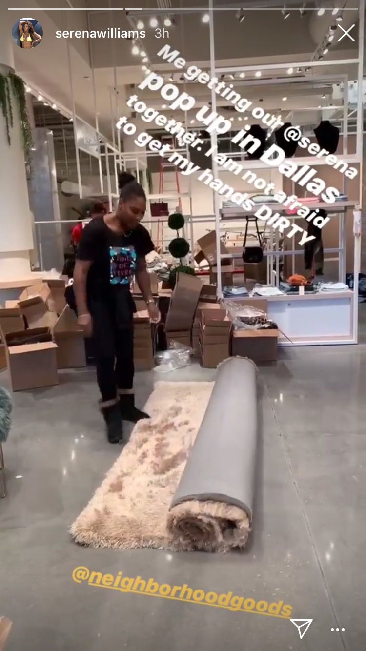 Tennis champion Serena Williams posted this Instagram Story on Friday Nov. 16, 2018, She was photographed on Wednesday, Nov. 14 while getting her shop ready inside Neighborhood Goods. The store opens on Nov. 17, 2018 in Plano's Legacy West.