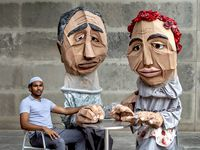 From left, Cast members Chris Smith as Imam, Armando Monsivais as Tahir (Grandfather Puppet) and Sorany Gutierrez as Feride (Grandmother puppet) photographed at the Dallas Museum of Art for the Artstillery production of 'Dirty Turk aka Dirty Immigrant.'