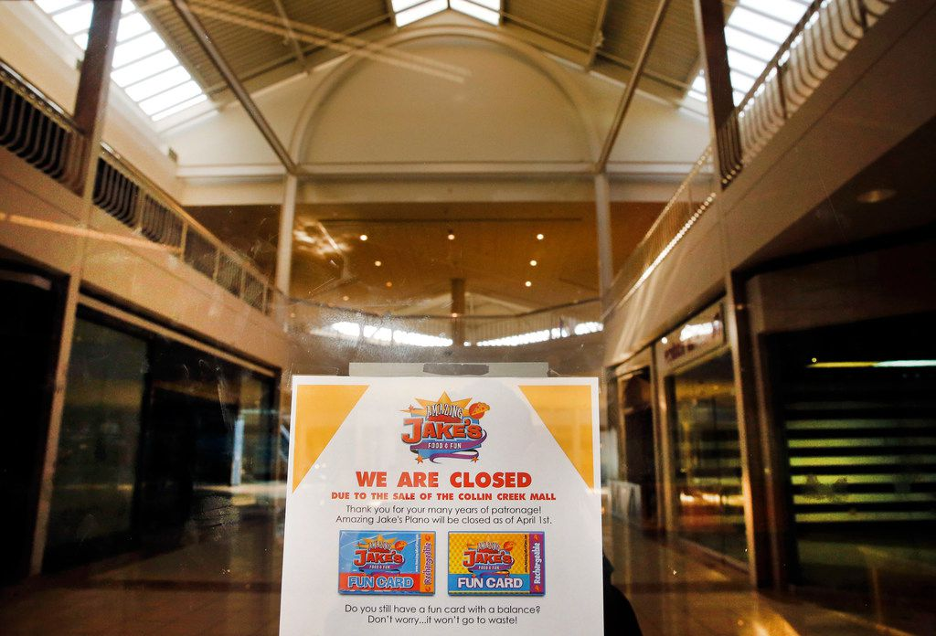A sign informs people that Amazing Jake's is permanently closed in Collin Creek Mall  in Plano.. From 6-9 p.m. Friday, the mall is having an 1980s-themed party to celebrate the mall's past as it prepares to close for good July 31.