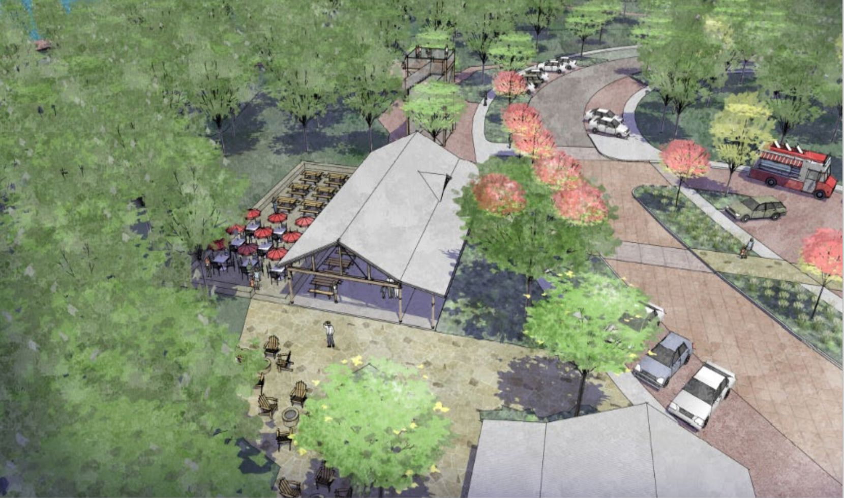 Painted Tree's community center will be styled after a trailhead outpost.