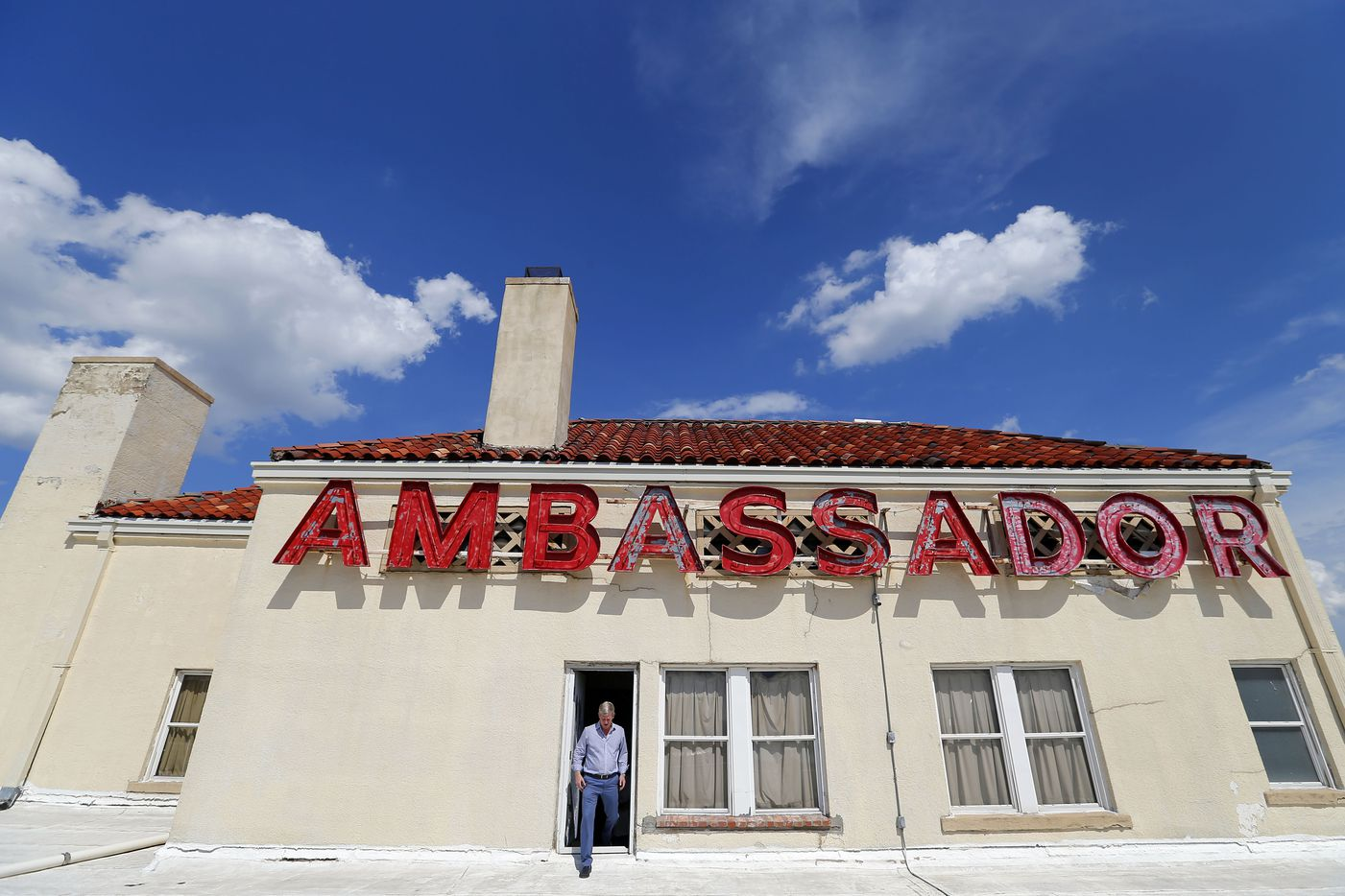 Developer Jim Lake Jr. stepped onto the roof of the Ambassador Hotel in June 2016. Lake planned to convert the hotel into apartments.